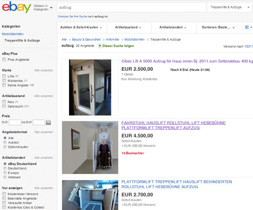 Gebrauchte Aufzüge bei eBay