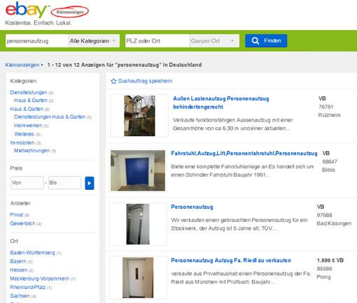 Personenaufzug gebraucht bei eBay kleinanzeigen